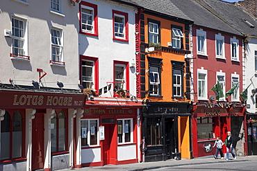 Colourful shops in Kilkenny High Street, Kilkenny, County Kilkenny, Leinster, Republic of Ireland, Europe