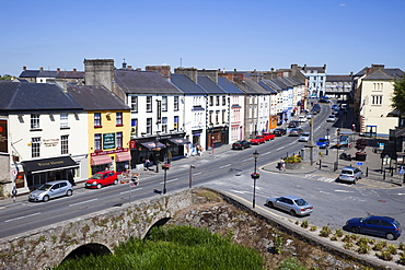 View of town from Cahir Castle, Cahir, County Tipperary, Munster, Republic of Ireland, Europe