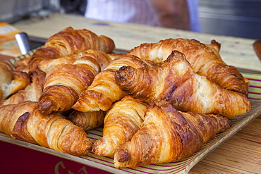 Croissant display in patisserie shop, Paris, France, Europe