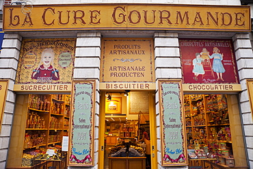 Biscuit and chocolate shop facade, Brussels, Belgium, Europe