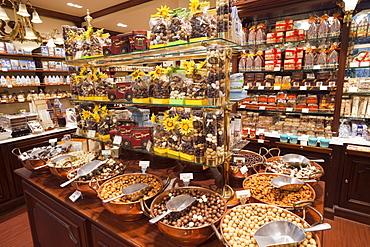 Chocolate shop interior, Brussels, Belgium, Europe