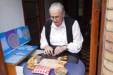 Lace making, Bruges, Belgium, Europe