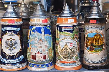 Souvenir beer steins, Frankfurt, Hesse, Germany, Europe