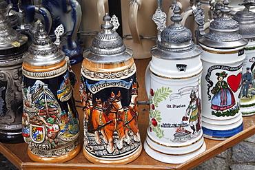 Souvenir beer steins, Munich, Bavaria, Germany, Europe
