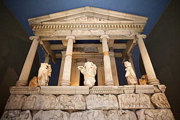 The Nereid Monument from Xanthos in southwest Turkey dating from the 5th century BC, British Museum, Bloomsbury, London, England, United Kingdom, Europe