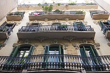 Apartment balconies, The Gothic Quarter, Barcelona, Catalonia, Spain, Europe
