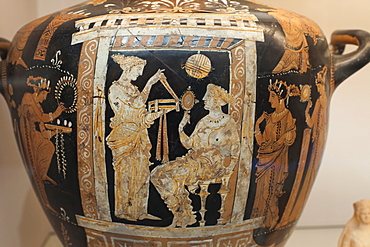 Painted water jar showing woman and maid from Apulia in Italy dating from 350 BC, British Museum, Bloomsbury, London, England, United Kingdom, Europe