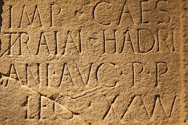 Detail of writing on Roman plinth from Moresby near Hadrians Wall in Cumbria, British Museum, Bloomsbury, London, England, United Kingdom, Europe