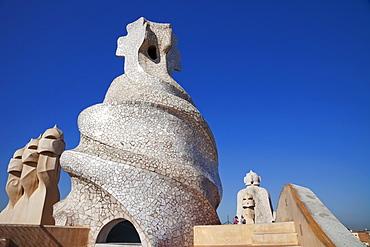 Rooftop chimneys, Casa Mila (La Pedrera), UNESCO World Heritage Site, Barcelona, Catalonia, Spain, Europe