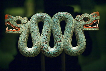 Aztec Turquoise Mosaic of Double Headed Serpent from Mexico 15th to 16th century,  British Museum, Bloomsbury, London, England, United Kingdom, Europe
