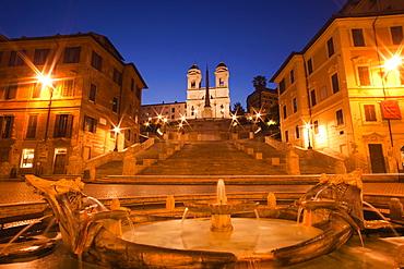 Piazza di Spagna, Spanish Steps and Trinita dei Monti Church, Rome, Lazio, Italy, Europe