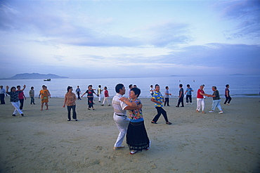 Early morning dance classes, Sanya Beach, Sanya, Hainan Island, China, Asia