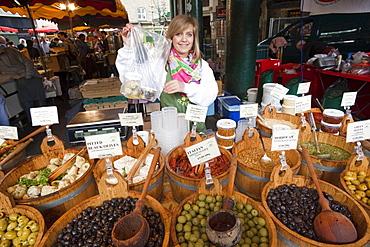 Olive stall, Borough Market, Southwark, London, England, United Kingdom, Europe