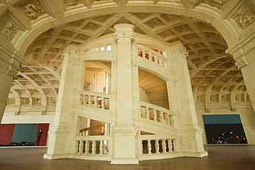 The Grand Staircase, Chambord Castle, UNESCO World Heritage Site, Loir et Cher, Loire Valley, France, Europe