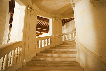 The Grand Staircase, Chambord Castle, UNESCO World Heritage Site, Loir et Cher, Loire Valley, France, Europe