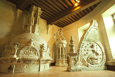 The Lapidary Room display of original rooftop stonework, Chateau de Chambord, UNESCO World Heritage Site, Loir et Cher, Loire Valley, France, Europe