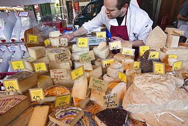 Cheese stall, Borough Market, Southwark, London, England, United Kingdom, Europe