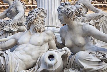 Detail of the Palais-Athene Fountain, Parliament Building, Vienna, Austria, Europe
