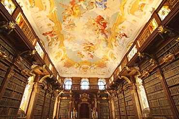 The Library, Melk Abbey, Melk, Wachau Cultural Landscape, UNESCO World Heritage Site, Austria, Europe