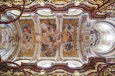 Ceiling fresco of the Abbey Church, Melk Abbey, Melk, Wachau Cultural Landscape, UNESCO World Heritage Site, Austria, Europe