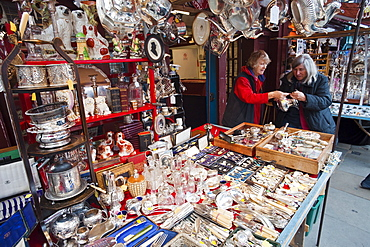 Stall on Portobello Road Antique Market, London, England, United Kingdom, Europe