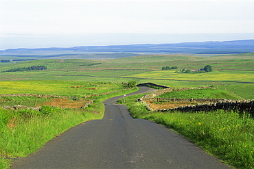 Empty road and countryside view, Northumbria, England, United Kingdom, Europe