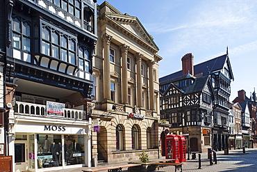 Tudor style shopping street, Chester, Cheshire, England, United Kingdom, Europe