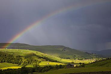 Rainbow over Swaledale, Yorkshire Dales National Park, Yorkshire, England, United Kingdom, Europe