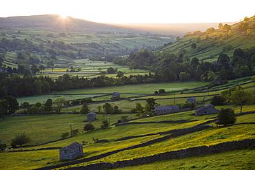 Sunrise over Swaledale, Yorkshire Dales National Park, Yorkshire, England, United Kingdom, Europe
