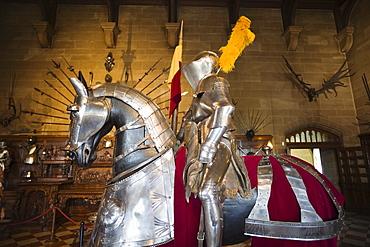 Display of knight and horse armour, Warwick Castle, Warwick, Warwickshire, England, United Kingdom, Europe