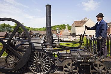 Replica of Richard Trevithick's Coalbrookdale Locomotive, Blists Hill Victorian Town Museum, Coalport, Ironbridge Gorge, Shropshire, England, United Kingdom, Europe