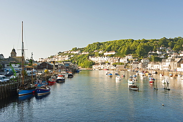 Morning light on the River Looe at Looe in Cornwall, England, United Kingdom, Europe