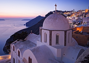Dusk over a small church at the south of Thira in Santorini, Cyclades, Greek Islands, Greece, Europe