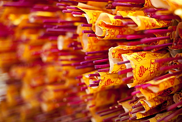 Incense sticks in a Buddhist temple in Kuala Lumpur, Malaysia, Southeast Asia, Asia