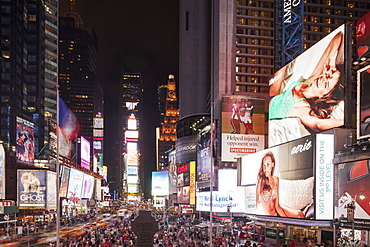 Night time at Times Square in New York, New York State, United States of America, North  America
