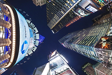 Fisheye lens image of night time at Times Square in New York, New York State, United States of America, North America