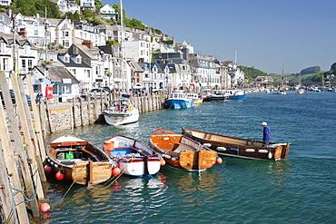 Tenders moored on the quayside in Looe, Cornwall, England, United Kingdom, Europe