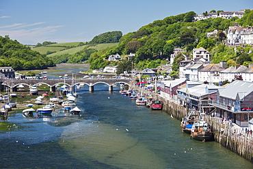 Looking towards the harbour and bridge in Looe, Cornwall, England, United Kingdom, Europe