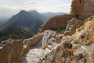 The interior of the Cathar castle of Queribus in Languedoc-Roussillon, France, Europe