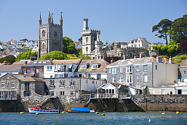 The town of Fowey, seen from the River Fowey in Cornwall, England, United Kingdom, Europe