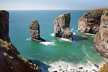 The Elegug Sea Stacks, Pembrokeshire, Wales, United Kingdom, Europe