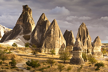 Unusual rock formations in the Rose Valley, Cappadocia, Anatolia, Turkey, Asia Minor, Eurasia