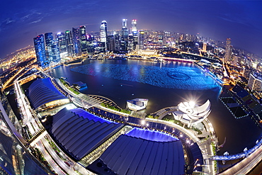 The remarkable city skyline of the Central Business District as viewed from the Marina Bay Sands Skypark in Singapore, Southeast Asia, Asia