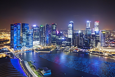 The city skyline of the Central Business District as viewed from the Marina Bay Sands Skypark in Singapore, Southeast Asia, Asia