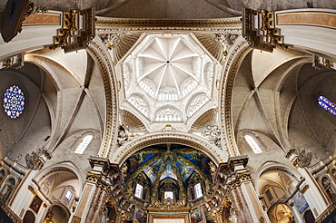 Fisheye image of the interior of Valencia Cathedral in Valencia, Spain, Europe