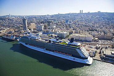The luxury passenger ship of Celebrity Equinox docking in the port of Haifa