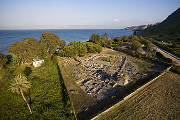 Aerial archeologic site of Magdala in the Sea of Galilee, Israel