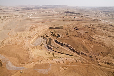 Aerial photograph of a quarry in the Ramon Crater, Israel