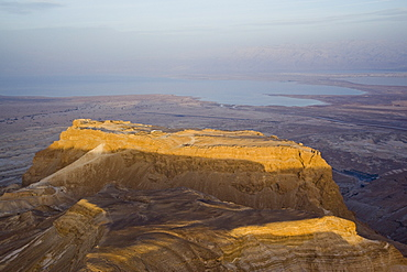 Aerial view of the Archeologic site of Masada and the Roman Ramp built by Lucius Flavius Silva during the Judian Rebellion between 72 to 73 AD, Israel