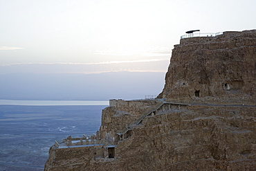 Aerial Northern palace of the archeologic site of Masada dated back to Herod the Great between 37 to 4 BC, Israel